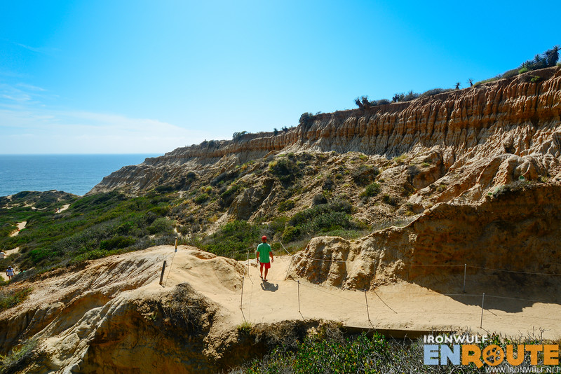 Descending at the Torrey PInes State Reserve Beach trail with stunning rock formations