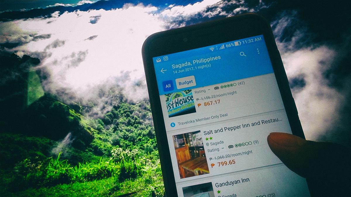 Using Traveloka App to book hotels in Sagada
