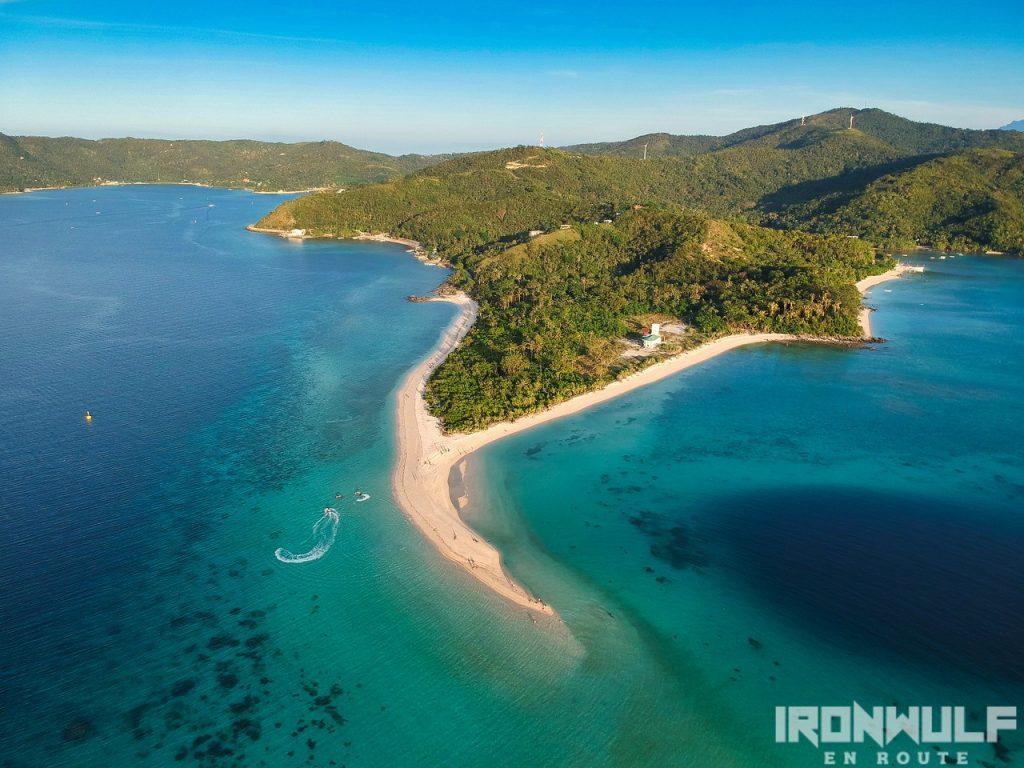 Bonbon beach sandbar aerial view