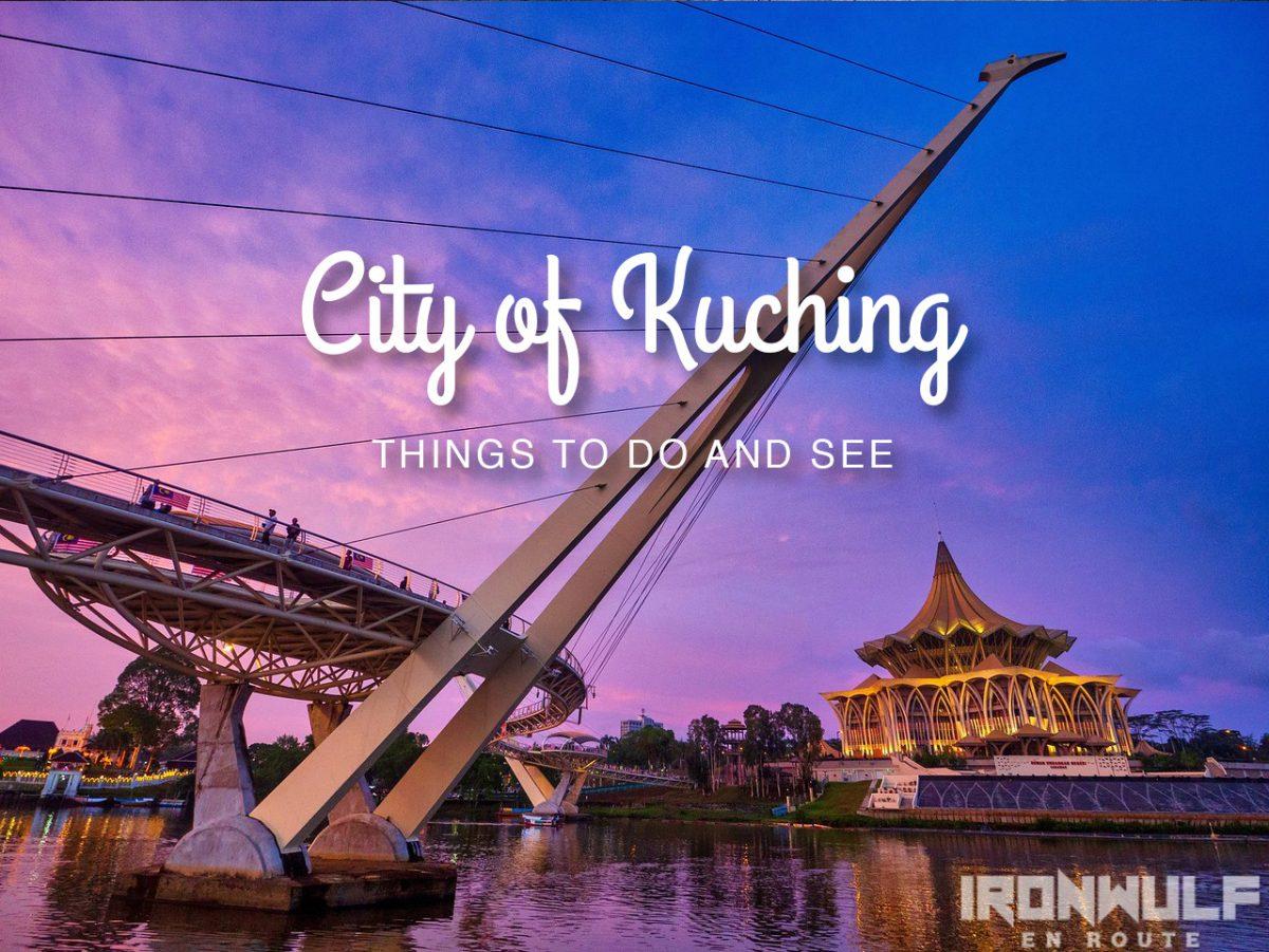 City of Kuching sundown over Sarawak River