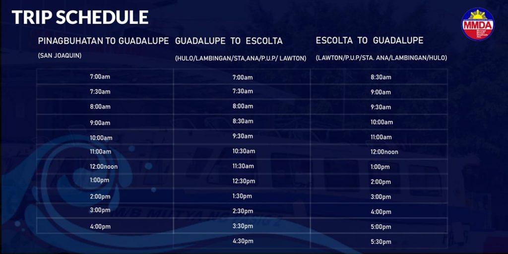 MMDA PAsig River Ferry trip schedule